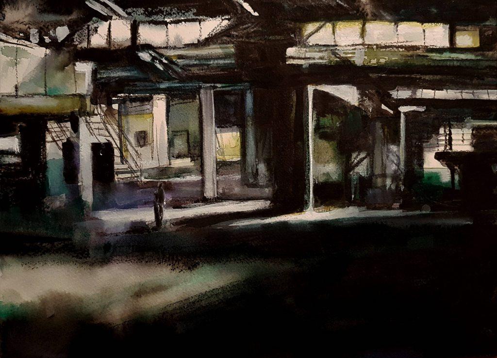 Abandoned factory 1, mixed media, 30x40 cm