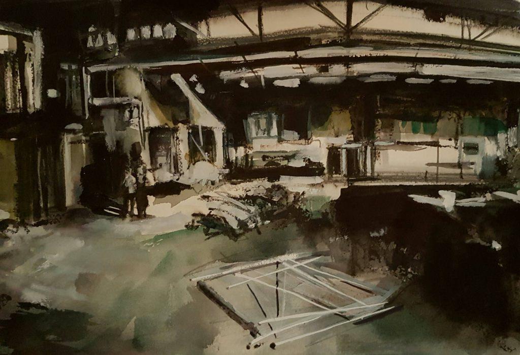 Abandoned factory 2, mixed media, 30x40 cm