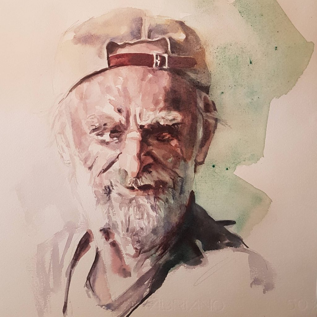 Bearded old man, watercolor, 30x30 cm