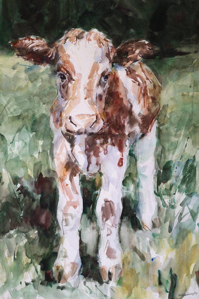 Calf, watercolor, 100x70cm