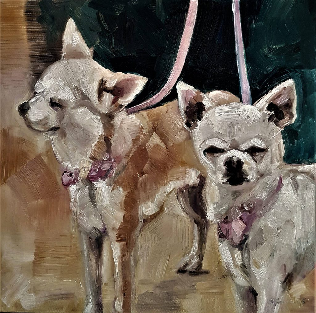 Chanel and Dior, oilcolor, 40x40 cm