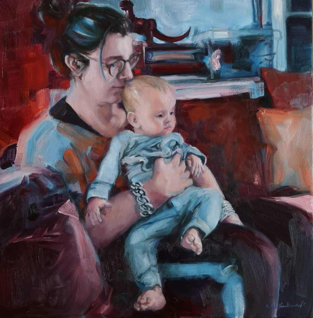 Eva and Kiki, oilcolor, 60x60 cm