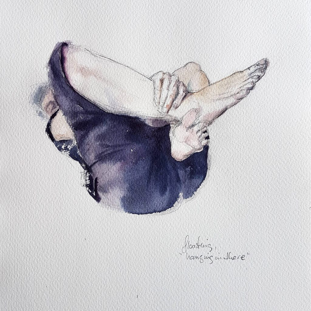 Floating 1, watercolor, 30x30 cm