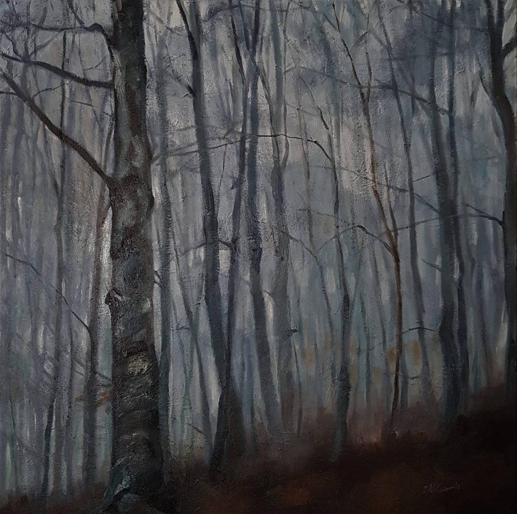 Forêt des Colettes in winter, oilcolor, 60x60 cm