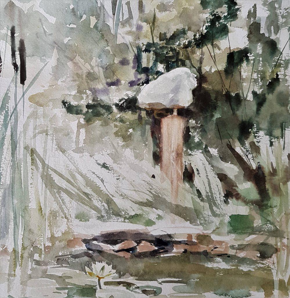 Garden in Coutansouze, watercolor, 30x30 cm
