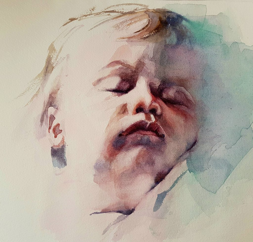 Julian sleeping, watercolor, 40x40 cm