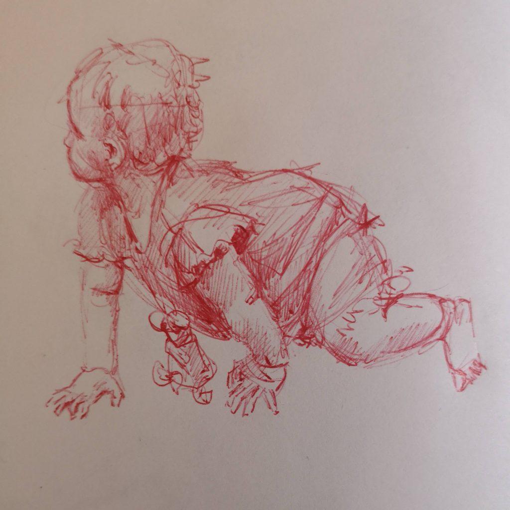 Kiki crawling, pen, 20x20 cm