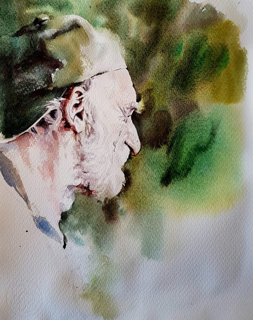 Man with cap, watercolor 40x30 cm