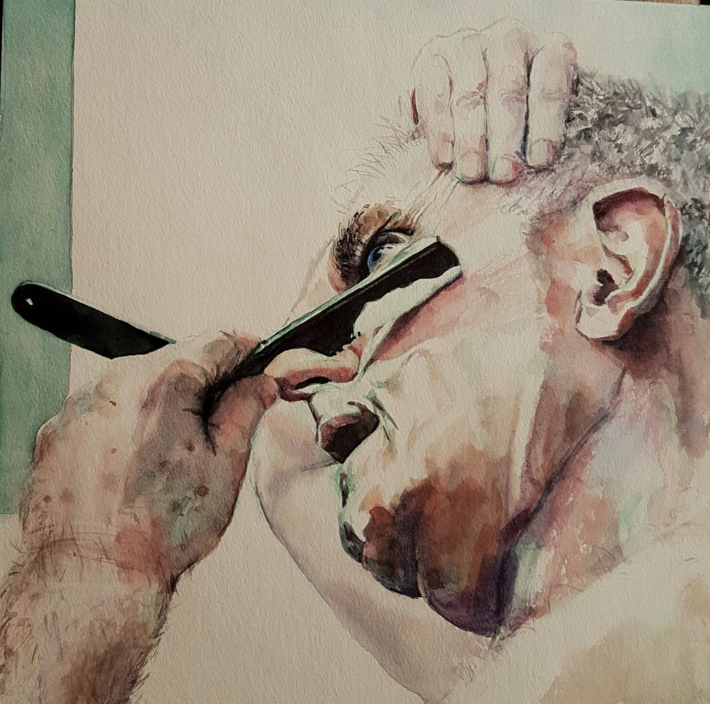 Manfred shaving, watercolor, 30x30 cm