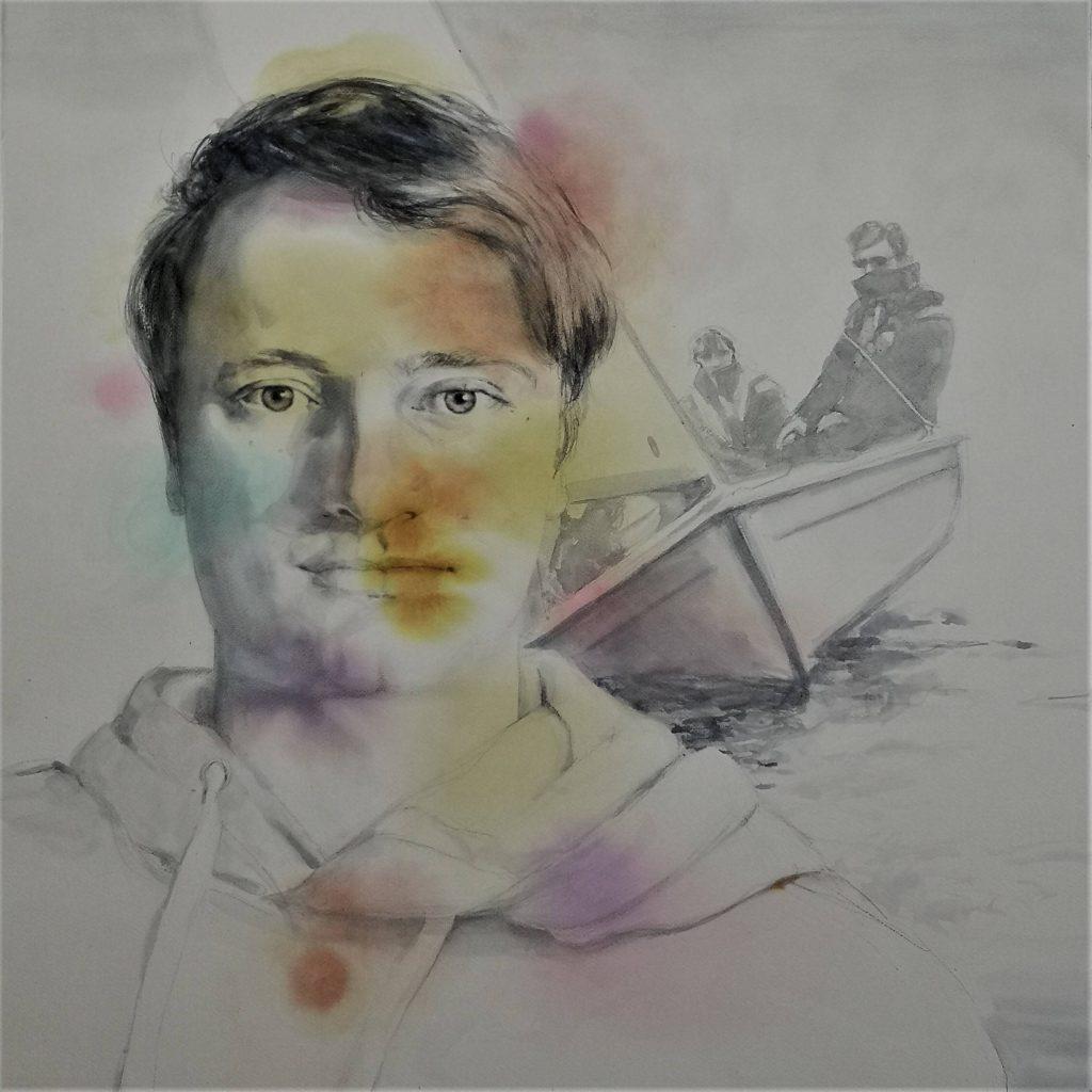Mathijs, watercolor, 70x70 cm