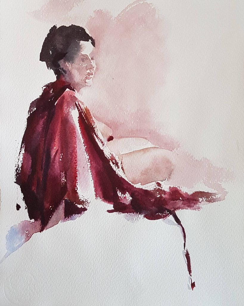 Model with red cloth, watercolor, 30x30 cm