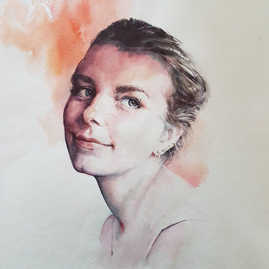 Nathalie, watercolor, 40x40 cm