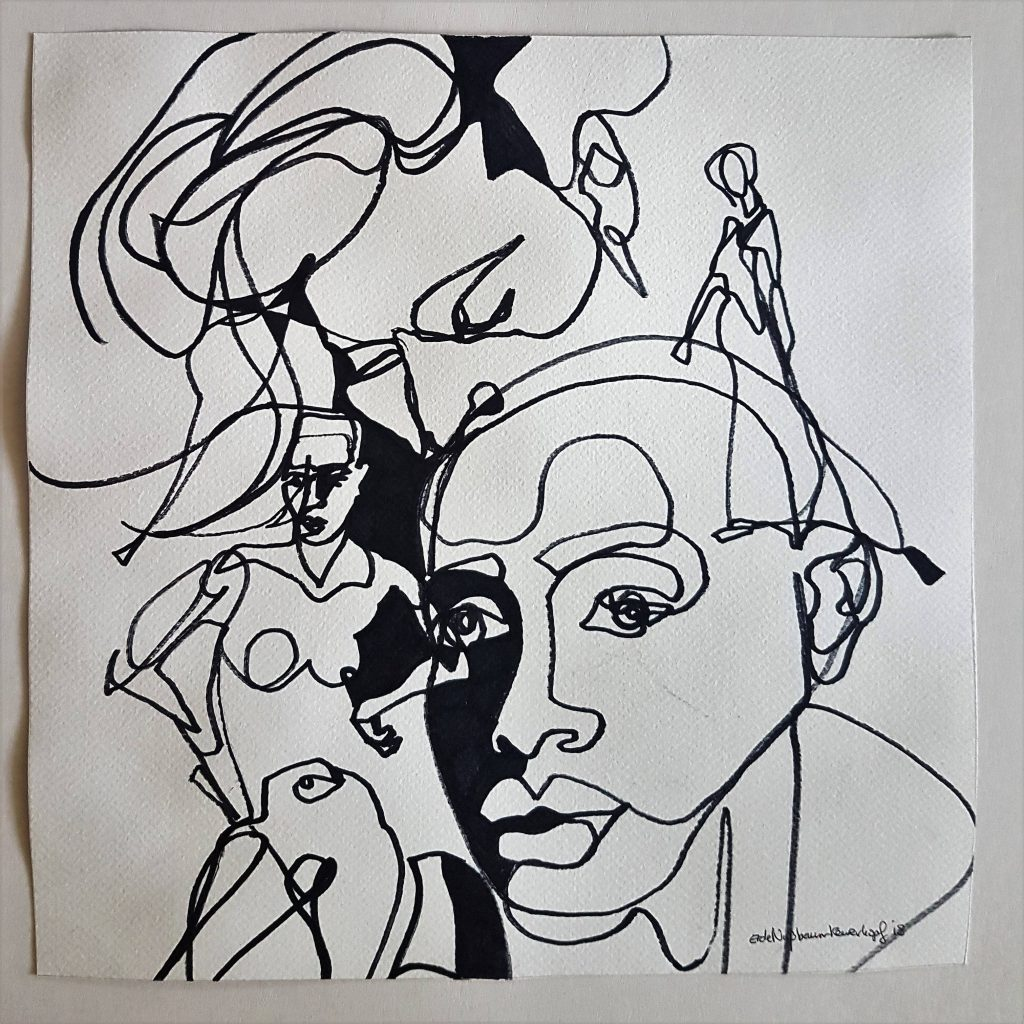 People 2, ink, 20x20 cm
