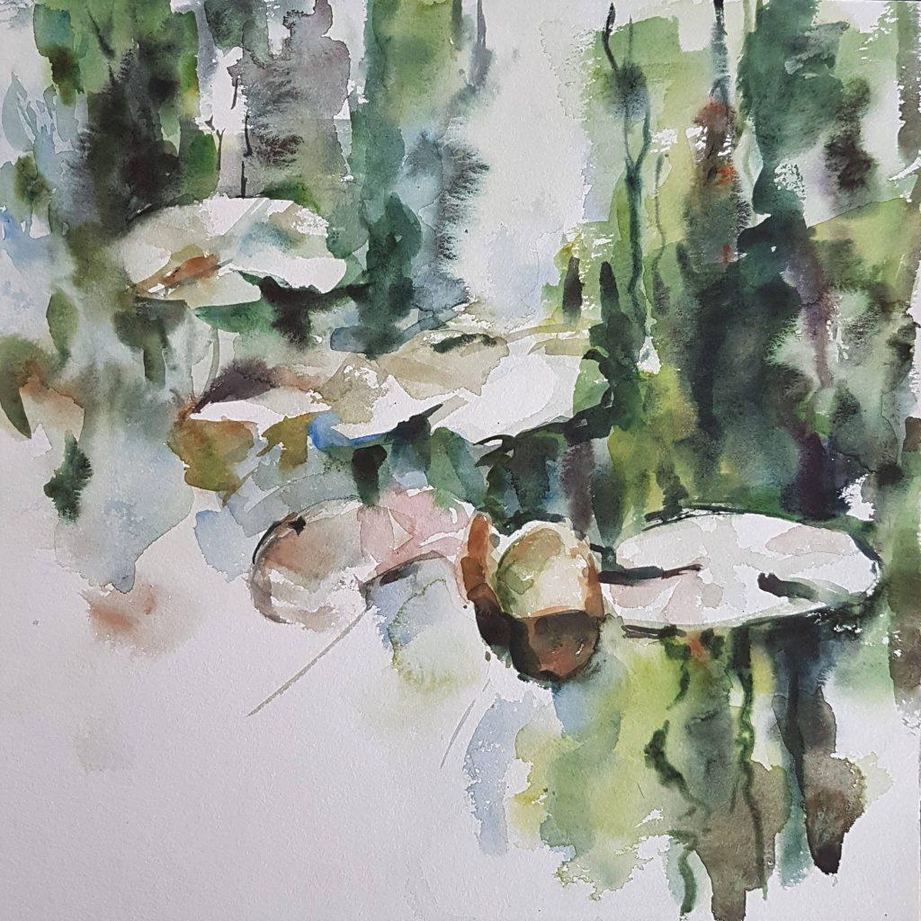 Reflection, watercolor, 40x40 cm