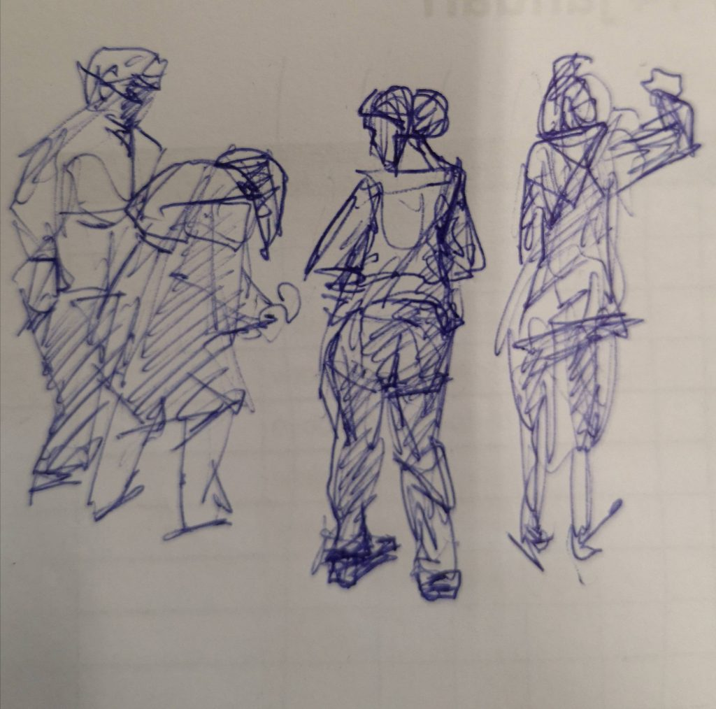 Sketches of students, pen,15x15 cm