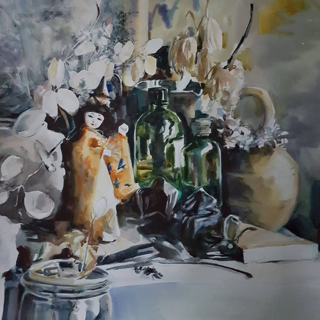 Still life after Kees Verweij, watercolor, 70x70 cm