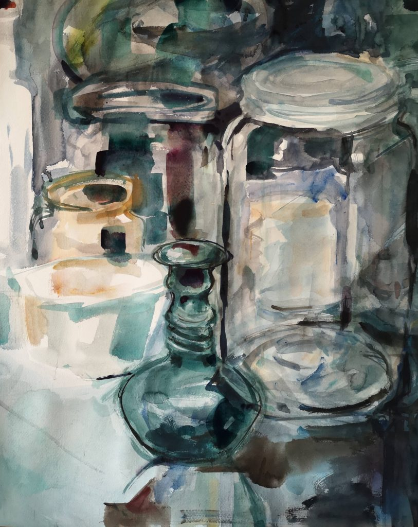 Still life in my workshop, watercolor, 90x70 cm