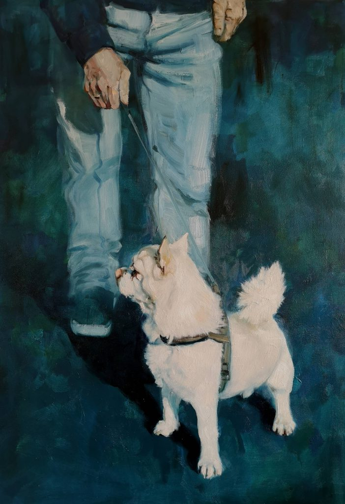 Walking the dog, oilcolor, 100x70 cm
